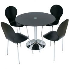 Romano Glass Dining Table With 4 Dining Chairs In Black