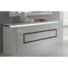 Garde Sideboard High Gloss In White And Walnut With Led Light
