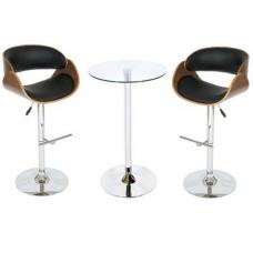 Corina Glass Bistro Set in Clear With Black And Walnut Stools