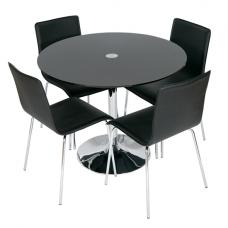 Romano Black Glass Dining Table With 4 Dining Chairs