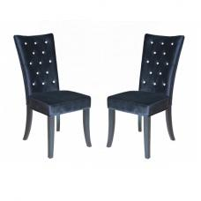 Belfast Dining Chair In Crushed Black Velvet in A Pair