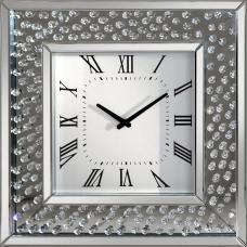Rosalie Wall Clock Square In Mirrored Glass With Crystals Border