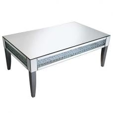 Rosalie Coffee Table In Silver With Mirrored Glass and Crystals