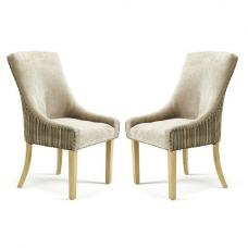 Hannah Dining Chair In Mink Sand Fabric in A Pair