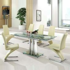 Rihanna Extending Glass Dining Table With 6 Demi Cream Chairs