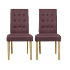 Heskin Dining Chair In Plum Linen Style Fabric in A Pair