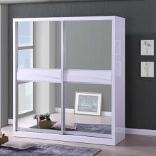 Stirling Sliding Wardrobe In White Gloss With 2 Mirror Doors