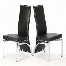 Romeo Black Dining Chairs In A Pair With Chrome Legs