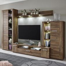 Alvin Wooden Living Room Set In Acacia Dark With LED Lighting