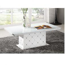 Levono High Gloss Coffee Table In White With Rhinestone
