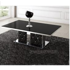 Levo Glass Coffee Table In Black With Rhinestone