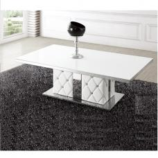 Levo Glass Coffee Table In White With Rhinestone