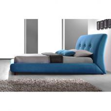 Sache Teal Blue Fabric Finish Double Bed