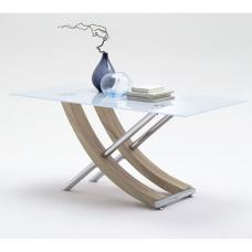 Samova Glass Dining Table In Rough Sawn Oak And Chrome Legs
