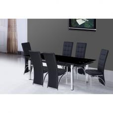 Sarah Extending Glass Dining Table With 6 Ravenna Dining Chairs
