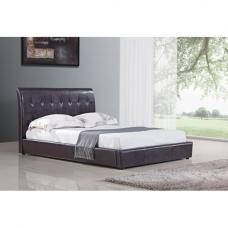 Seina Brown PU Faux Leather King Size Bed