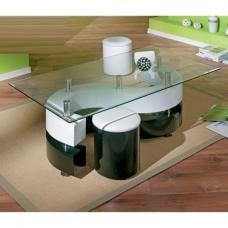 Serena Glass Top Coffee Table With Stools