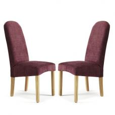 Jennifer Dining Chair In Shiraz Fabric With Oak Legs in A Pair