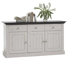 Monika Sideboard In Solid Pine White Wash With 3 Doors