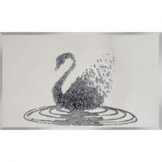 Peyton Glass Wall Art In Silver Glitter Swan On Mirror