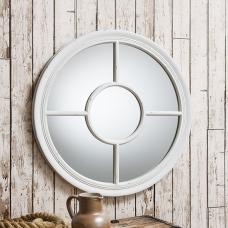 Somford Wall Mirror Round In Cream With Window Design