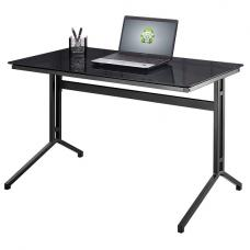 Samara Glass Computer Desk In Black With Dark Grey Metal Frame
