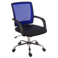 Fenton Home Office Chair in Black With Blue Mesh Back