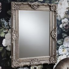 Valley Baroque Style Wall Mirror Rectangular In Antique Silver