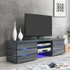 Svenja Media TV Stand In High Gloss Grey With Blue LED Lights