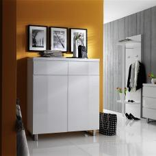 Sydney Shoe Storage Cabinet In High Gloss White With Shelves