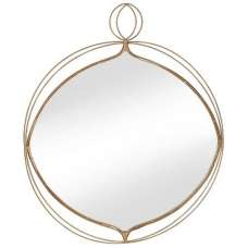 Clarissa Wall Mirror In Gold Finish With Wire Detail