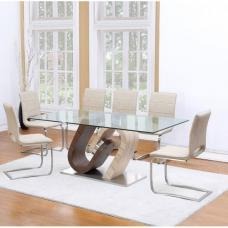 Tripoli Dining Table In Clear Glass Top With 4 Dining Chairs