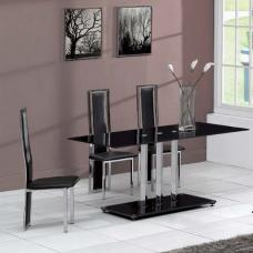 Trilogy Black Dining Table With 6 D231 Black Chairs