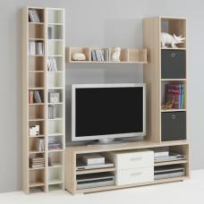 TV Combi Living Room Furniture Set 2 In White And Ashtree