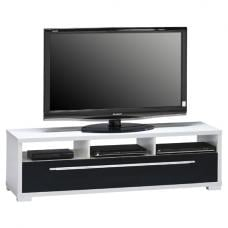 Pearl White Finish LCD TV Stand With Drawer And Open Shelf