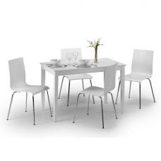 Whiston Dining Table In White Lacquer With 4 Mandy Dining Chairs