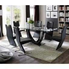 Tavolo Gloss Black Pedestal Dining  And 8 Image Black Chairs