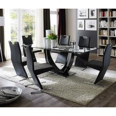 Tavolo Gloss Black Pedestal Dining  And 6 Image Black Chairs