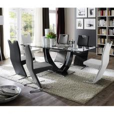 Tavolo Gloss Black Pedestal Dining  And 6 Image Dining Chairs