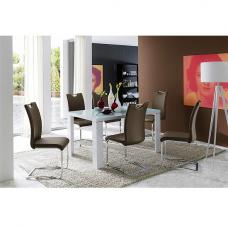 Tizio Glass 120cm Dining Table In White Gloss With 4 Koln Chairs