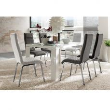 Tizio Glass 160cm Dining Table In White Gloss With 6 Dora Chairs