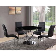 Toulouse Glass Dining Table With 4 Dining Chairs Black