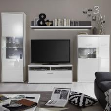 Libya Living Room Set 2 In White High Gloss With LED Lighting