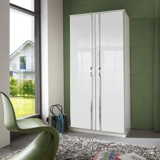 Luton Wardrobe In High Gloss Alpine White With 2 Doors