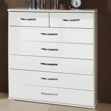 Luton Wide Chest of Drawers In High Gloss Alpine White