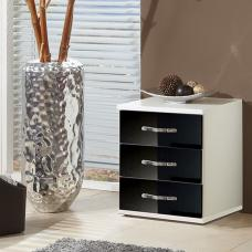 Luton Bedside Cabinet In High Gloss Black And Alpine White