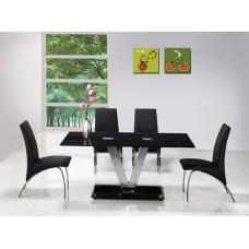 V Black Glass Dining Set And 6 G614 Full Dining Chairs