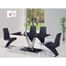 V Black Glass Dining Table And 6 G632 Dining Chairs