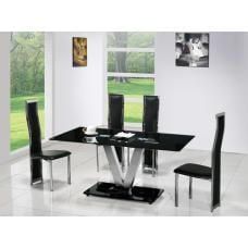 V Black Glass Dining Table And 6 G650 Dining Chairs