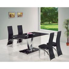 V Black Glass Dining Table And 6 G501 Dining Chairs